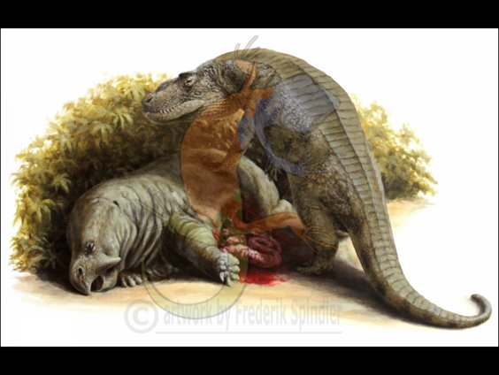 *Postosuchus* feasting on *Placerias*